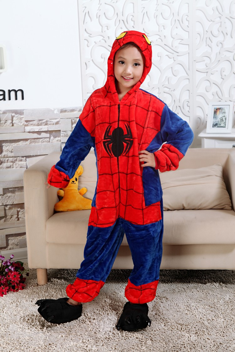 Autumn and winter flannel jumpsuit animal cartoon spider-man piece pajamas home service