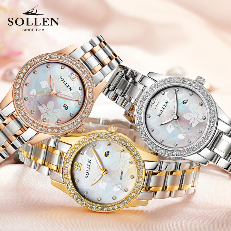 2018 Solon luxury Watch Women Quartz Watches Fashion Stainless Steel Band Analog Quartz Round Wrist Watch Relogio Feminino relogio feminino top brand men watches fashion stainless steel analog quartz wrist watch lady luxury mesh band bracelet watch n