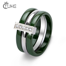 New New Trendy Green Yellow Ceramic Rings With Bling Rhinestone Three Layers Stainless Steel Rings Never Fade Fashion Jewelry