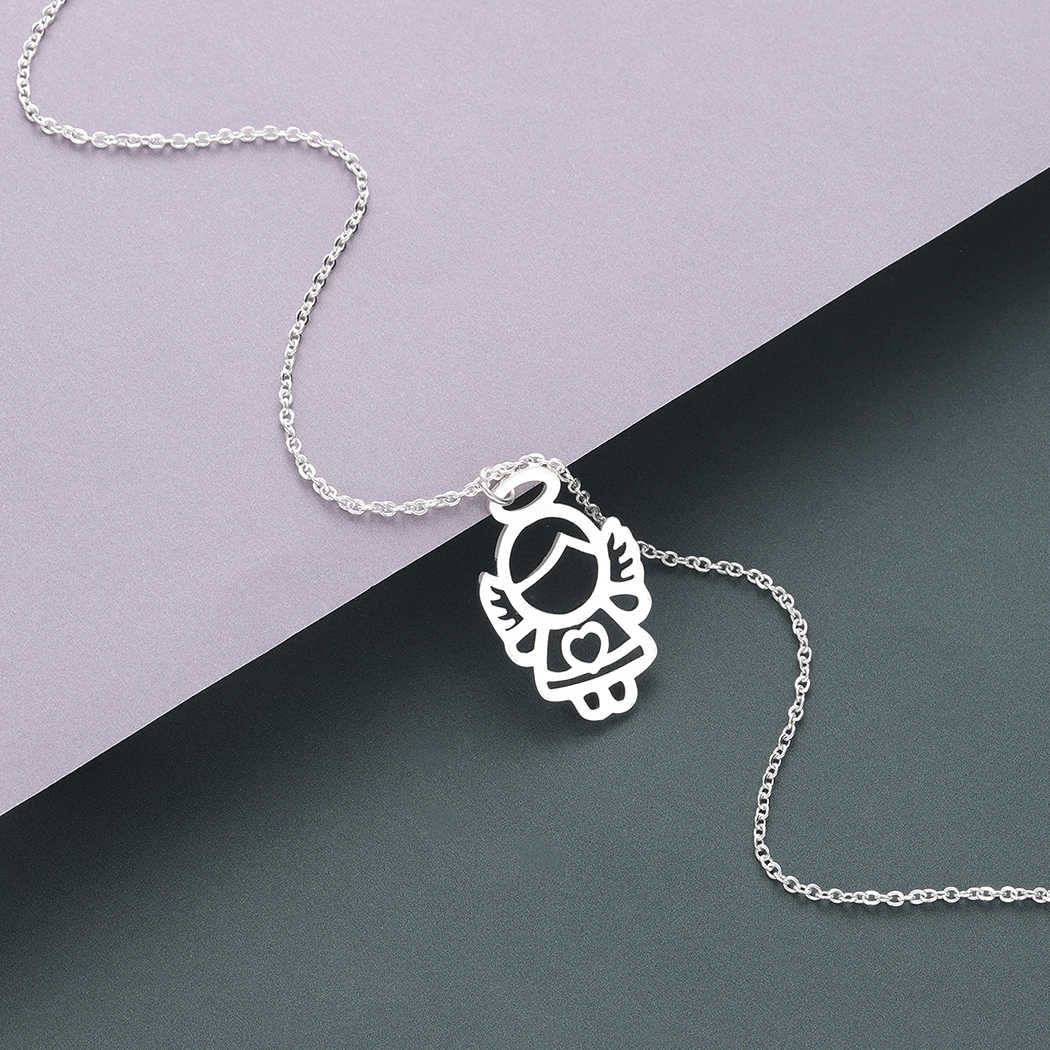Todorova Stainless Steel Guardian Angel Wing Heart Pendant Necklace Women Men Jewelry Chic Gifts for Girls