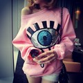 Pink Pullover Women 2016 Fall Winter Cute Eyes Sequined O Neck Long Sleeve Warm Fleeced Sweatshirts Japanese Kawaii Clothes T11
