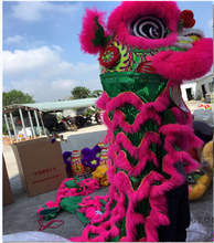 Lion Dance mascot Costume wool Southern pink Lion Chinese Folk art two adult Clothing Advertising Carnival Halloween Christmas(China)