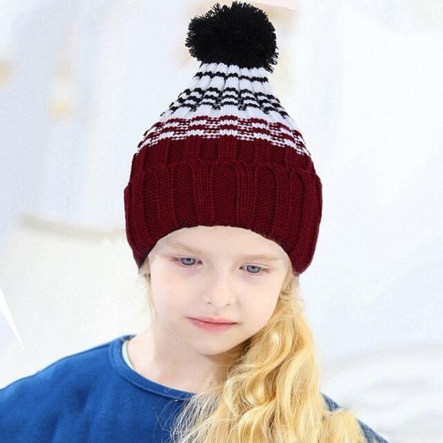c7fcec36c0d Xmas New Arrival Children Hat Woolen beanies Pompom Winter Warm Bonnet cap  Winter Warm knit crochet beanie Ski Enfant girl boy