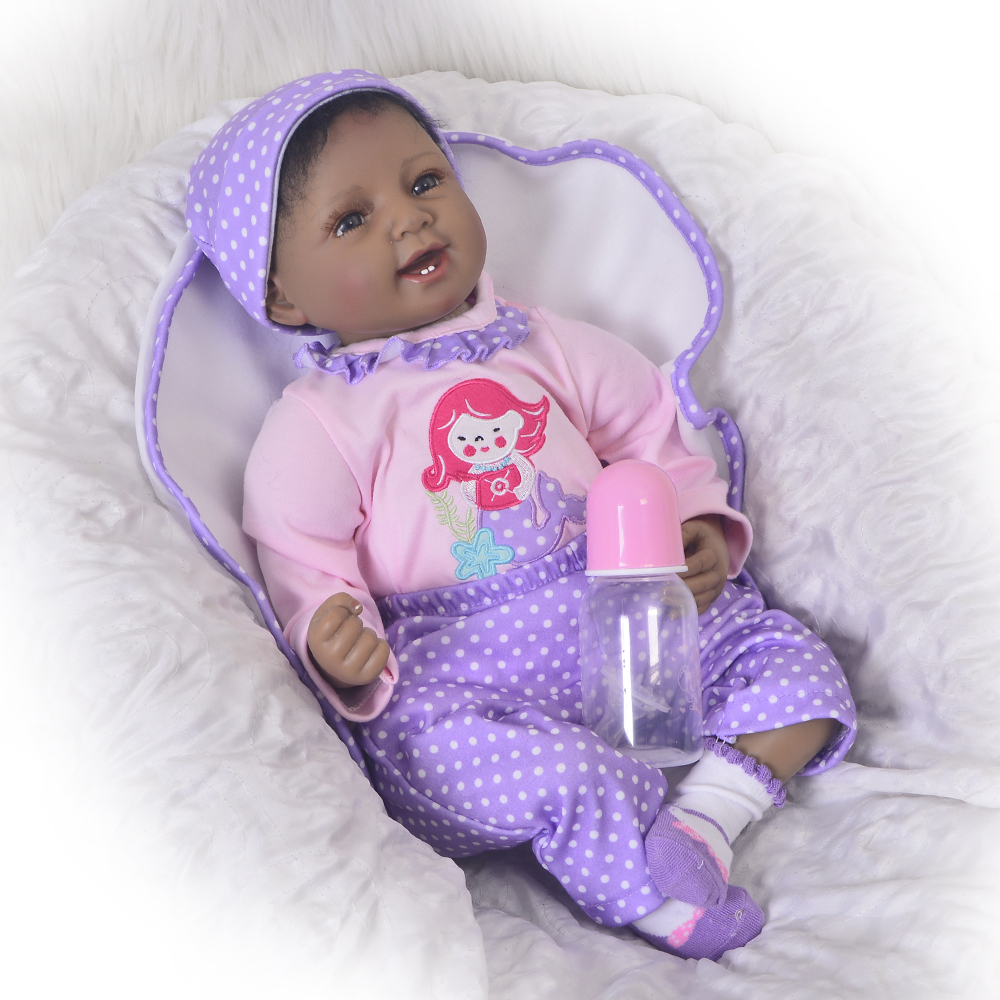 22 Inch Ethnic Black Dolls Soft Silicone Baby Stuff Reborn Dolls Looks So Truly Smiling Indian Boneca Toy For Kid Birthday Gifts realistic ethnic dolls reborn baby dolls 22 55 cm soft silicone baby alive doll wear clothes so truly baby toys birthday gifts