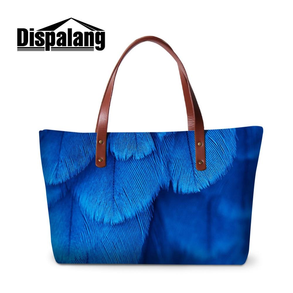 Dispalang Animal Women Handbag Feather Printing Ladies Large Shoulder Bags Summer Beach Bag Girls Casual Totes Shopping Bag