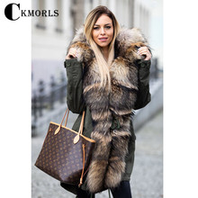 CKMORLS New Fashion Parkas With Natural Big Raccoon Fur Collar Armygreen Fur Jacket For Women Real Fur Coats Thick Warm Outwear