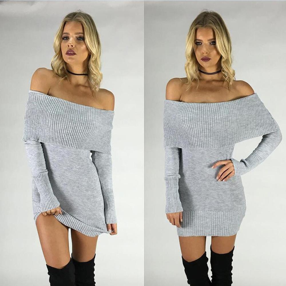 Danjeaner Autumn Winter Sexy Off Shoulder Slim Solid Sweater Dress ... 0a3a1850a026