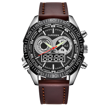 2020 New Brand CURDDEN Fashion Analog Digital LED Watches Men Leather Strap Waterproof Chronograph Sports Military Casual Watch
