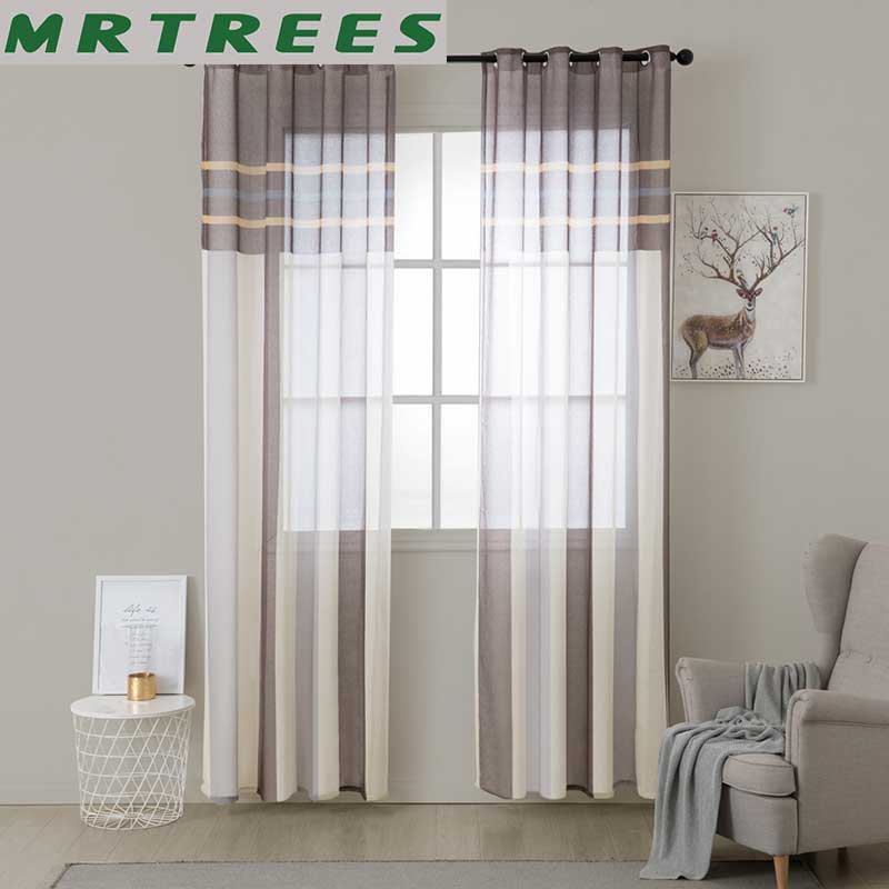 Mrtrees Striped Tulle Window Curtains
