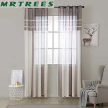 MRTREES Striped Tulle Window Curtains for Living Room Kitchen Modern Tulle Curtains for The Bedroom Window Curtain Fabric Drapes(China)