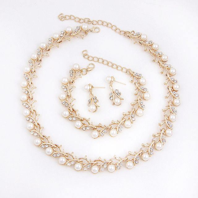 Imitation Pearl Gold Plated Jewelry Set