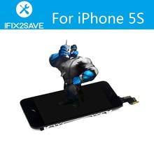 Reemplazo de Pantalla LCD Para el iphone 5S con la parte elegante Pantalla Táctil Del Digitizador Assembly + Home + Botón de Cámara Frontal + altavoz del oído