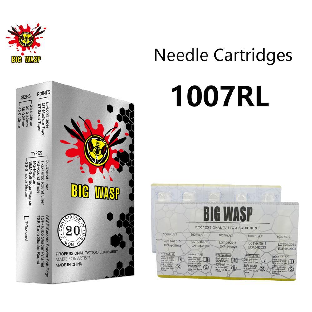 Cartuchos #10 Bugpin BIGWASP 1007RL Agulha de Tatuagem (0.30mm) 7 Round Liner (7RL) para Máquinas de Tatuagem Cartucho & Grips 20 Pcs