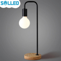 SOLLED Creative Bedside Dormitory Reading Table Lamp Iron Design Wood Base Stand Simple Decoration Home Desk