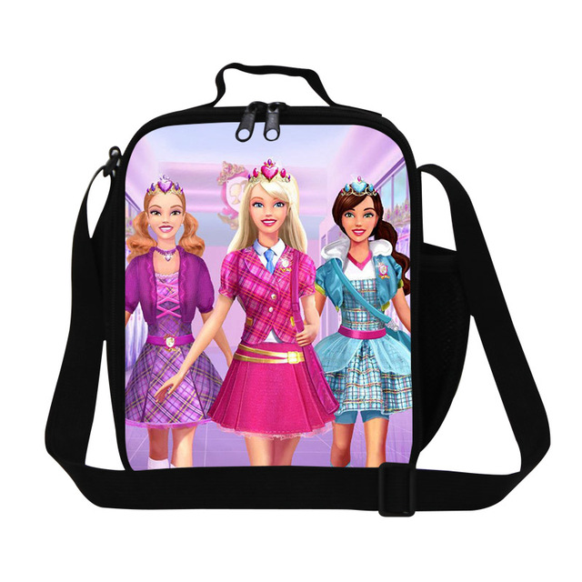 2016 Fashion Barbie Lunch Bag Thermal Bag Cooler Personalized Insulated Lunch Box For Kids Cartoon Food Bags For Teenager Girls