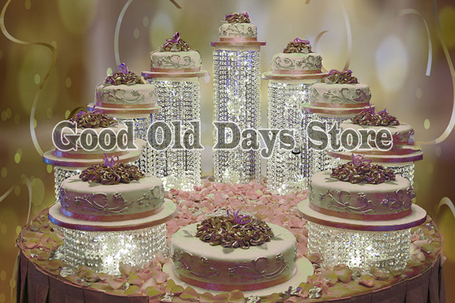 9pcs Acrylic Round Deluxe combination cake Cupcake Holder Stand Cupcake Display for Wedding Birthday Party Christmas Decor