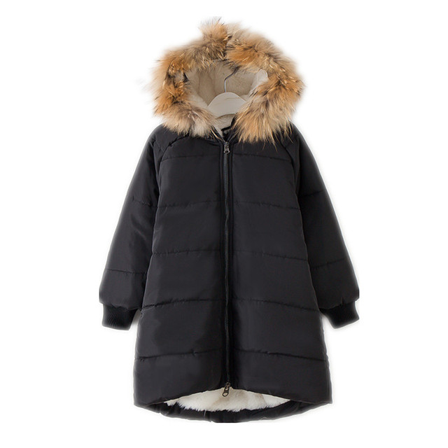Flash Sale 6 to 16 years kids & teenager girls racoon fur hooded thick fleece winter warm parkas jacket & coat children casual outwear