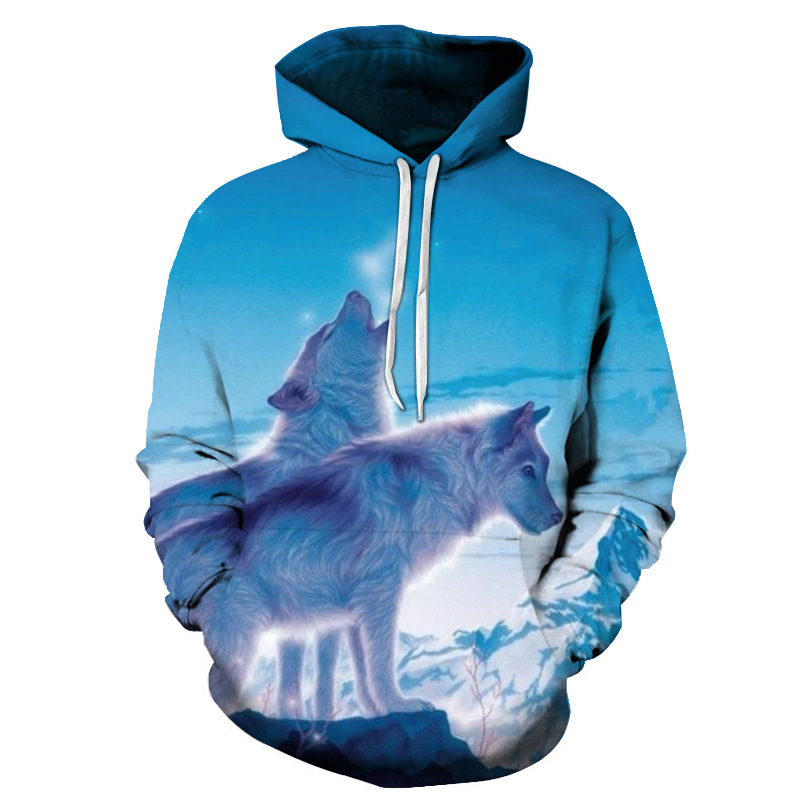 New 2019 Fashion Men/Women 3d Sweatshirts Print Snow Wolf Paisley Hoodies Autumn Winter Thin Hooded Pullovers Tops