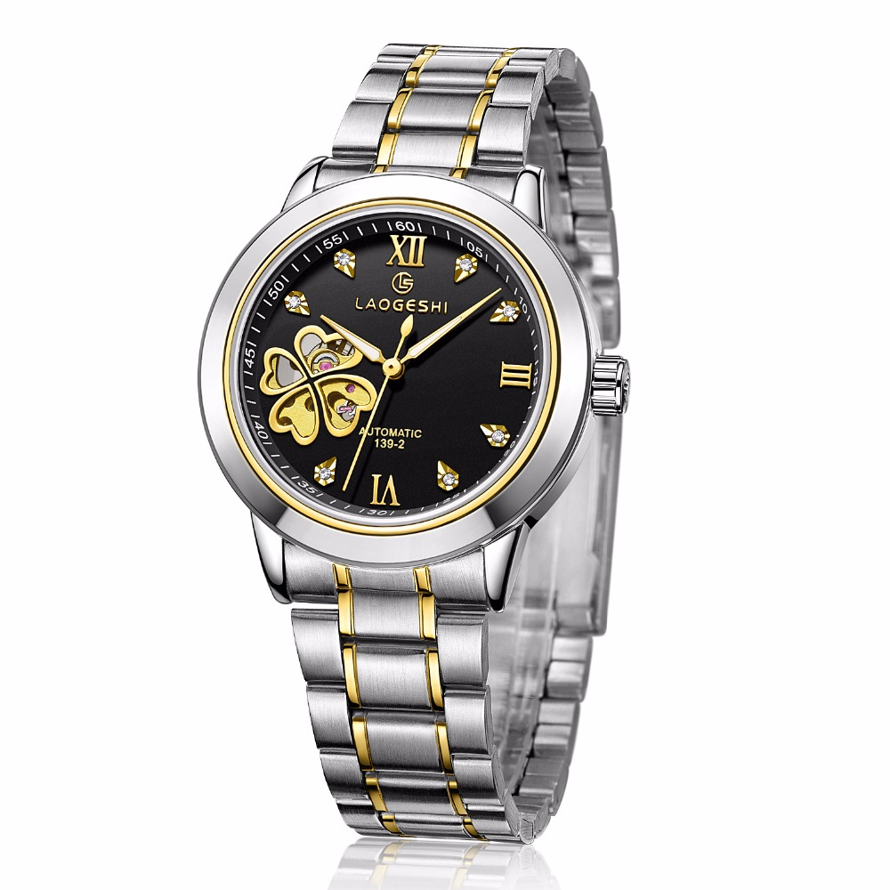Luxury Brand Tourbillon Lovers' Watches Men Automatic Mechanical Watch Women Four leaf flowers hollow Stainless Steel Wristwatch luxury brand binger new style watch round stainless steel fashion wristwatch for women automatic self watches tourbillon 1853
