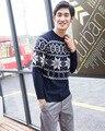 Otoño Nuevo Suéter de Cuello Redondo de Manga Larga de Los Hombres Suéter de Abrigo Suéter de Punto Suéteres Camisa Geométrica Jacquard Suéter