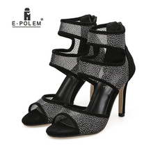 Black Women's Super High Thin Heels Sandals Summer Shoes Mature Zipper Hollow Out Dress Wearing Party Dating mature temptation mysterious sexy fashion ultra high documentary shoes black roman style hollow out super high heels