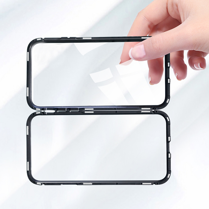 CHYI-Built-in-Magnetic-Case-for-iPhone-X-XR-XS-Max-Metal-bumper-Magnet-Adsorption-Case