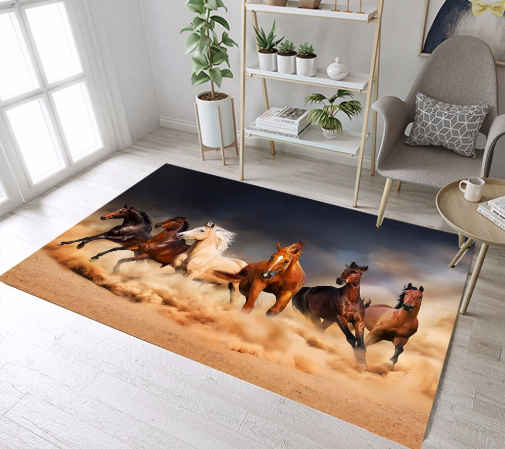 Horses Area Rugs And Carpets For Kids Baby Home Living Room Large Non-Slip Cushion Bedroom WC Kitchen Floor Door Bathroom Mats