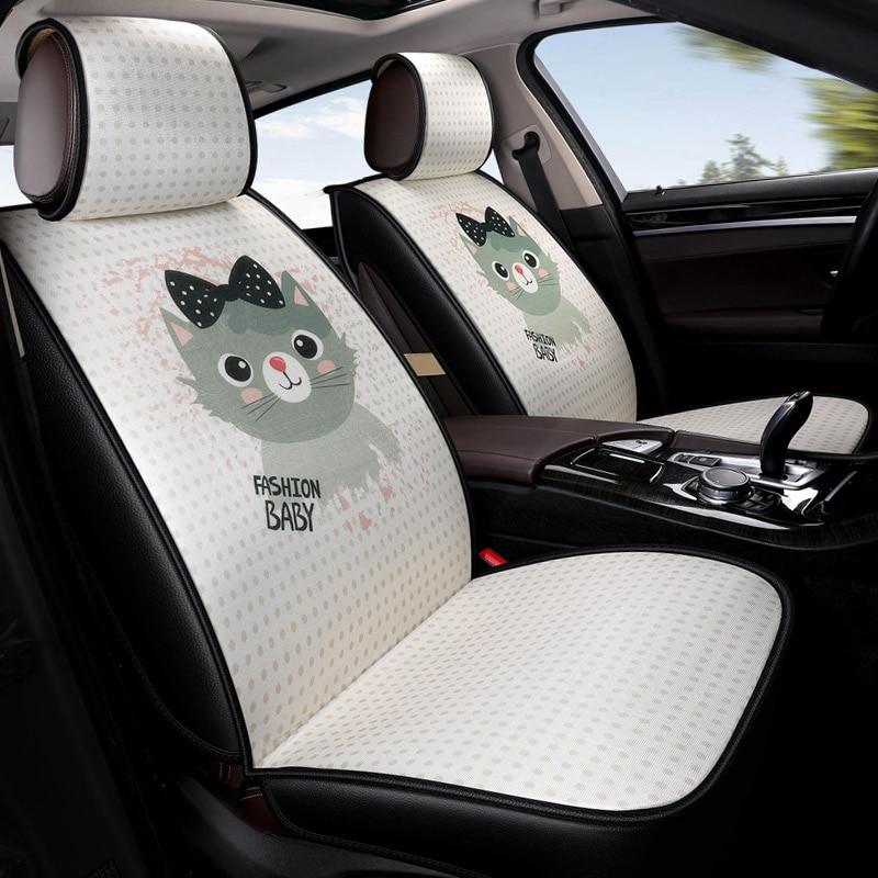 5 posti/set cartoon cute cat stampa ciao gattino nel beni per auto copre cuscini auto accessori interni per le ragazze donne