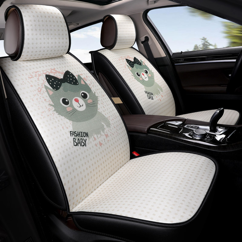 5 seats/set cartoon cute cat print hello kitty in the car seats covers cushions auto goods interior accessories for girls women адаптер аудио hama h 43368 jack 3 5 f jack 6 3 m черный [00043368]