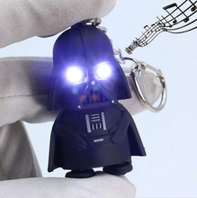 Darth Vader Star War Anakin Skywalker Figure Black Key Chain LED Flashlight Rings Men Women Jewelry