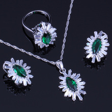 Glittering Green Cubic Zirconia White CZ 925 Sterling Silver Jewelry Sets For Women Earrings Pendant Chain Ring V0243 trendy water drop blue cubic zirconia white cz 925 sterling silver jewelry sets for women earrings pendant necklace bracelet