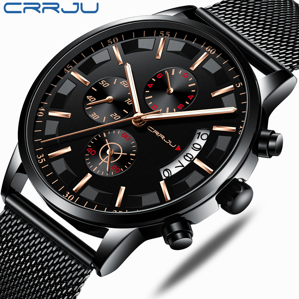 CRRJU Top Luxury Brand Men Business Analogue Quartz Stainless Steel Strap Wrist Watches Relogio Masculino Clock Horloges Hours