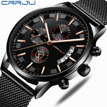 CRRJU Top Luxury Brand Men Business Analogue Quartz Stainless Steel Strap Wrist watches Relogio Masculino Clock Horloges Hours(China)