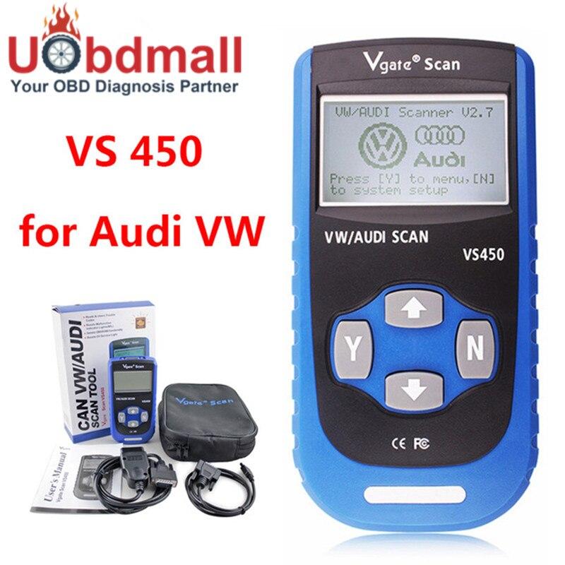 Prix pour Vgate VS450 VAG 450 Escaner Automotriz Scanner Pour VW Volkswagen Audi OBDII OBD Lecteur de Code Outil De Diagnostic PK VAS5054 ODIS UDS