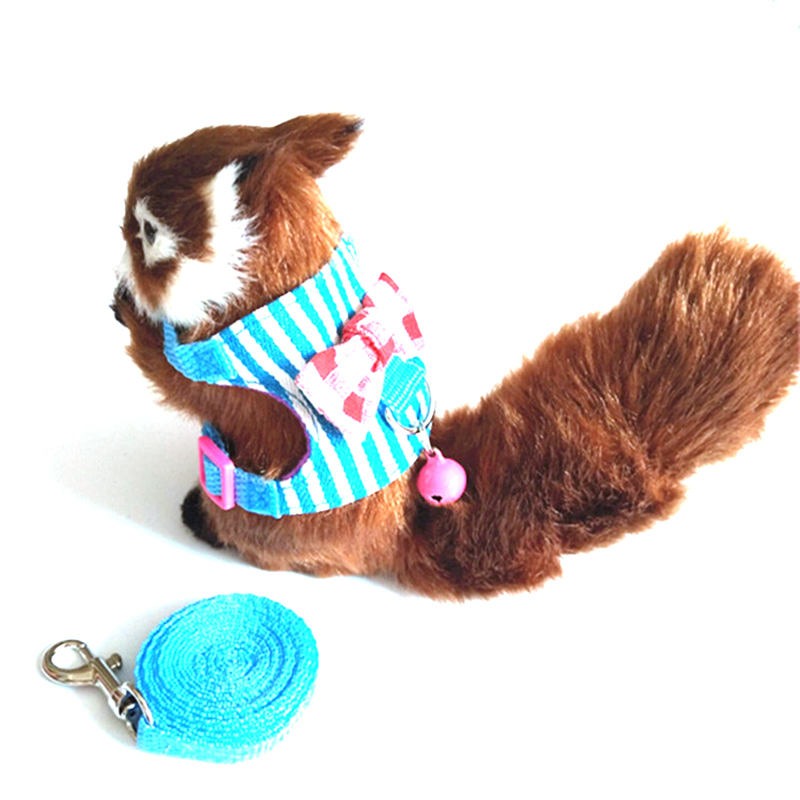 Stripe Bow Chinchilla Hamster Small Pet Squirrel Harness Cartoon Vest Clothes With Lead Leash Rope Collar For Hamster Mouse Rat