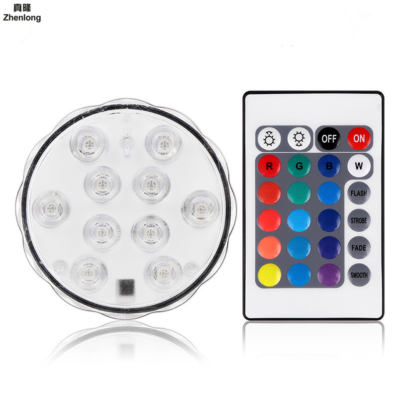 10leds RGB Led Underwater Light Pond Submersible IP68 Waterproof Swimming Pool Light Battery Operated for Wedding Party Decora
