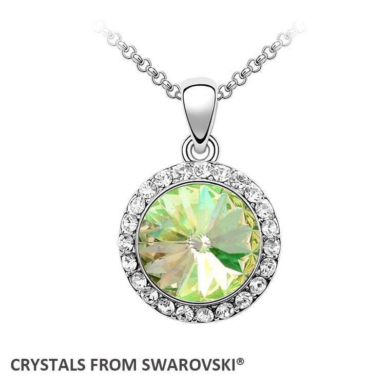 5 colors round crystal pendant necklace With Crystals from SWAROVSKI for Valentine's D gift