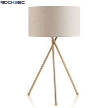 цены BOCHSBC Gold Metal Support Desk Light With E27 Bulb Fabric Lampshade Table Lamp Modern Lights for Bedroom Living Study Room Lamp