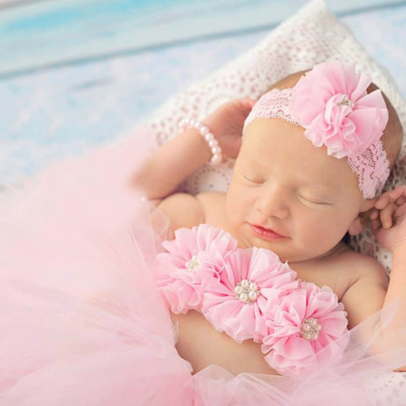 Pink Baby Tutu with Flower Bra Top and Lace Headband Newborn Girl Photo Props Costume Baby Tulle Tutus Baby Gift TS070