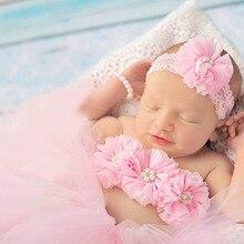 Розовая детская юбка-пачка с цветочным бюстгальтером; Топ и Кружевная повязка на голову; костюм для фотосессии для новорожденных девочек; фатиновая юбка-пачка; подарок для малышей; TS070