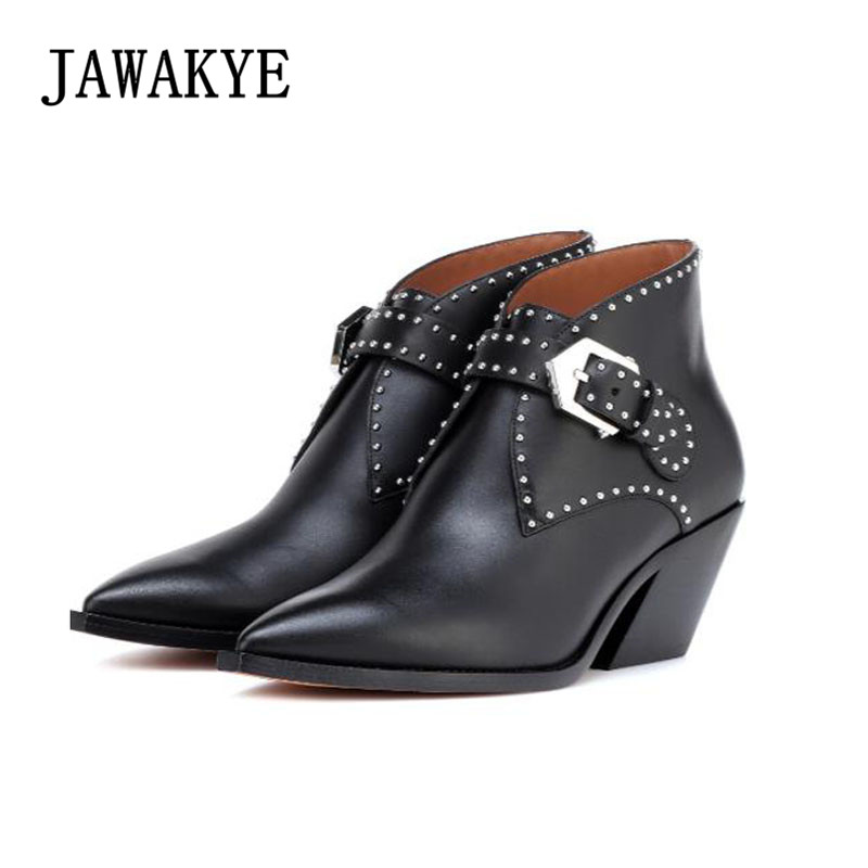 New Point Toe Metal Buckle Studded Ankle Boots for Women Genuine Leather Kitten low heel short boots Gladiator Motorcycle Boots цены онлайн