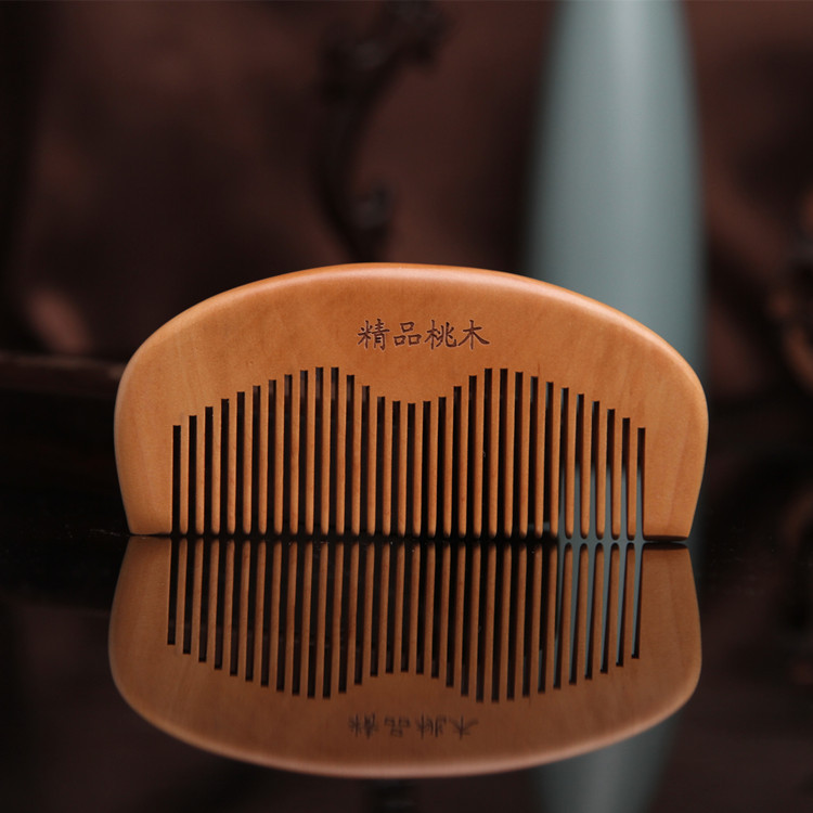 SW42 Laser engraving small peach wood comb Anti static wood comb