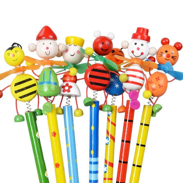 New Windmill Animal Doll Designs Non-toxic Lead Free Wooden Pencils For School Students Writing Prize/HB/ For Drawing/wholesale