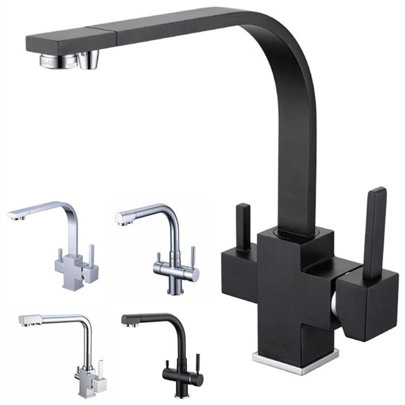 Rolya Reverse Osmosis Three Way Sink Mixer 3 way water filter tap Brass Construction Alba Black