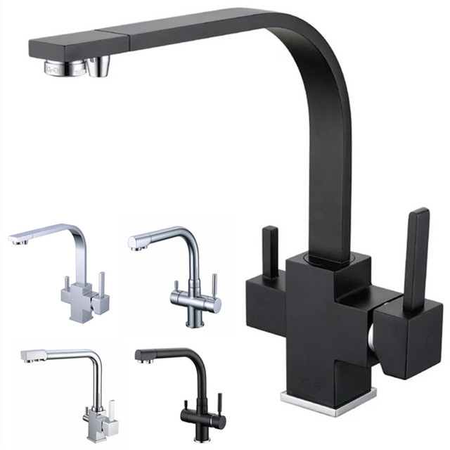 Rolya Reverse Osmosis Three Way Sink Mixer 3 Water Filter Tap Br Construction Alba Black Tri Flow Kitchen Faucet