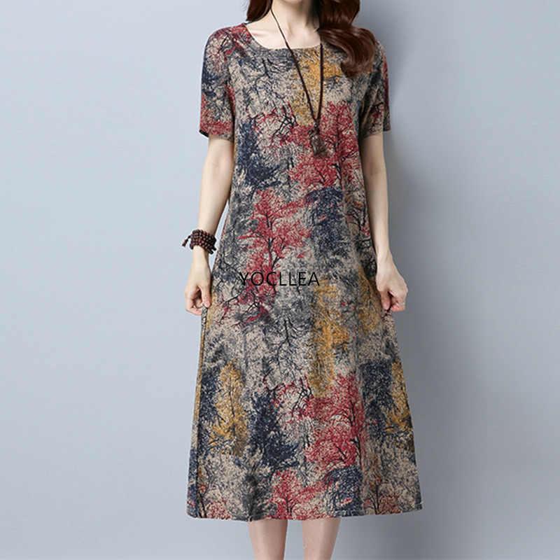 2020 Cotton Linen Summer Dress Women