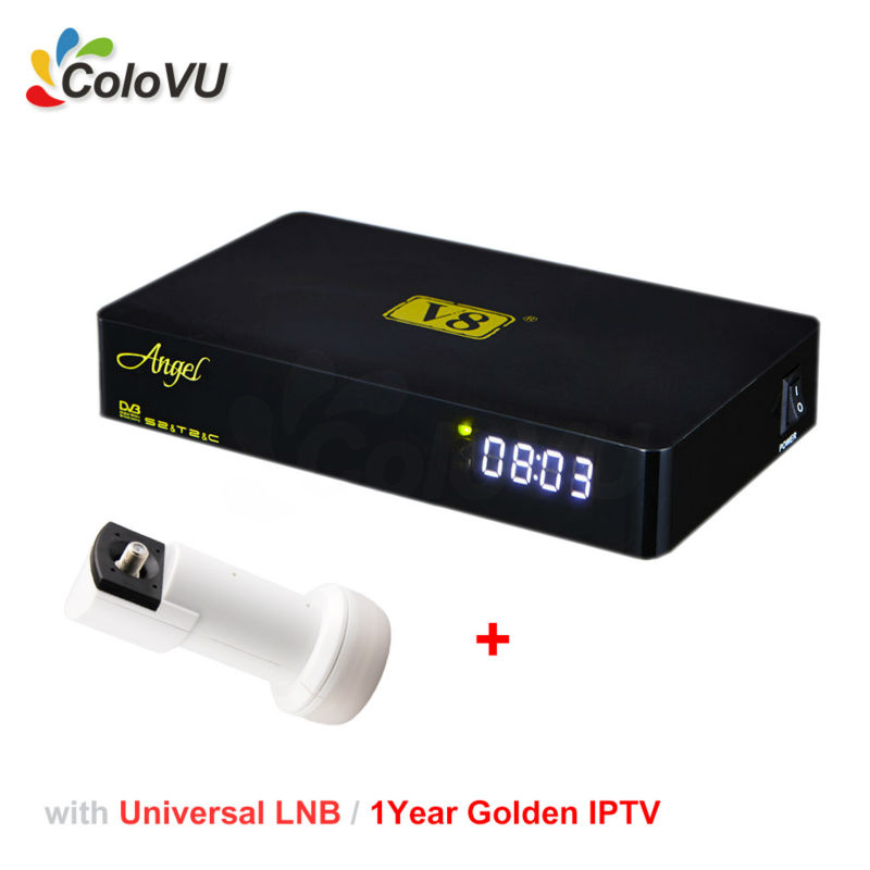 Android TV Receiver FreeSat V8 Angel + WiFi + LNB + 1Year Golden IPTV DVB-S/S2/T2/C Combo support IPTV CCCAM/Newcamd жилет