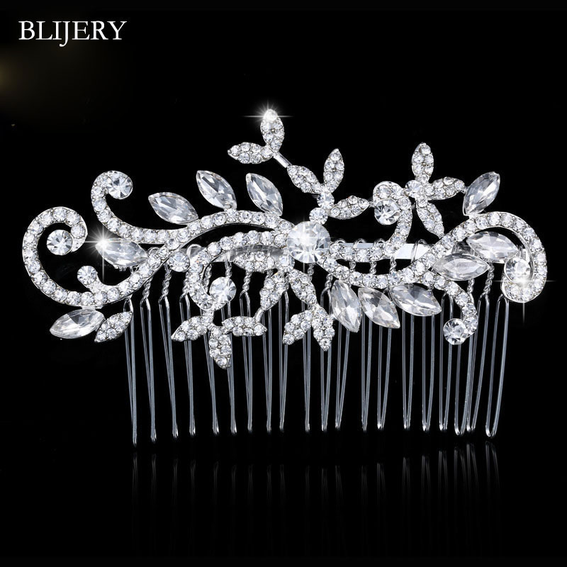 Women Hair Comb Trendy Gold Color Crystal Hair Jewelry Accessories