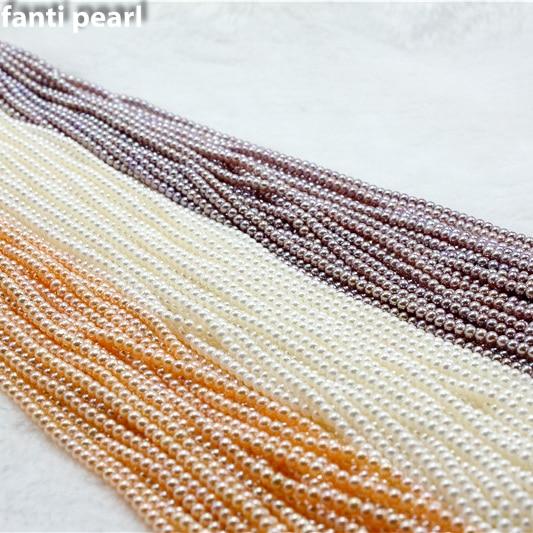 Style casual collier de perles collier de perles d'eau douce 3-3.5 AAAA ronde à la main perle brin petite perle collier