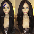Brazilian Virgin Hair Glueless Lace Front Wigs Italian Yaki LaceFront Wig Human Hair Straight Hair 130 Density  For Black Women